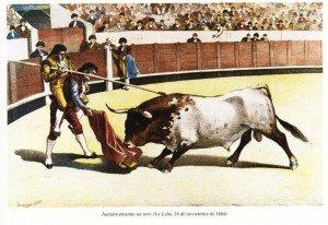 Juanijón picando desde otro hombre, La Lidia 1884