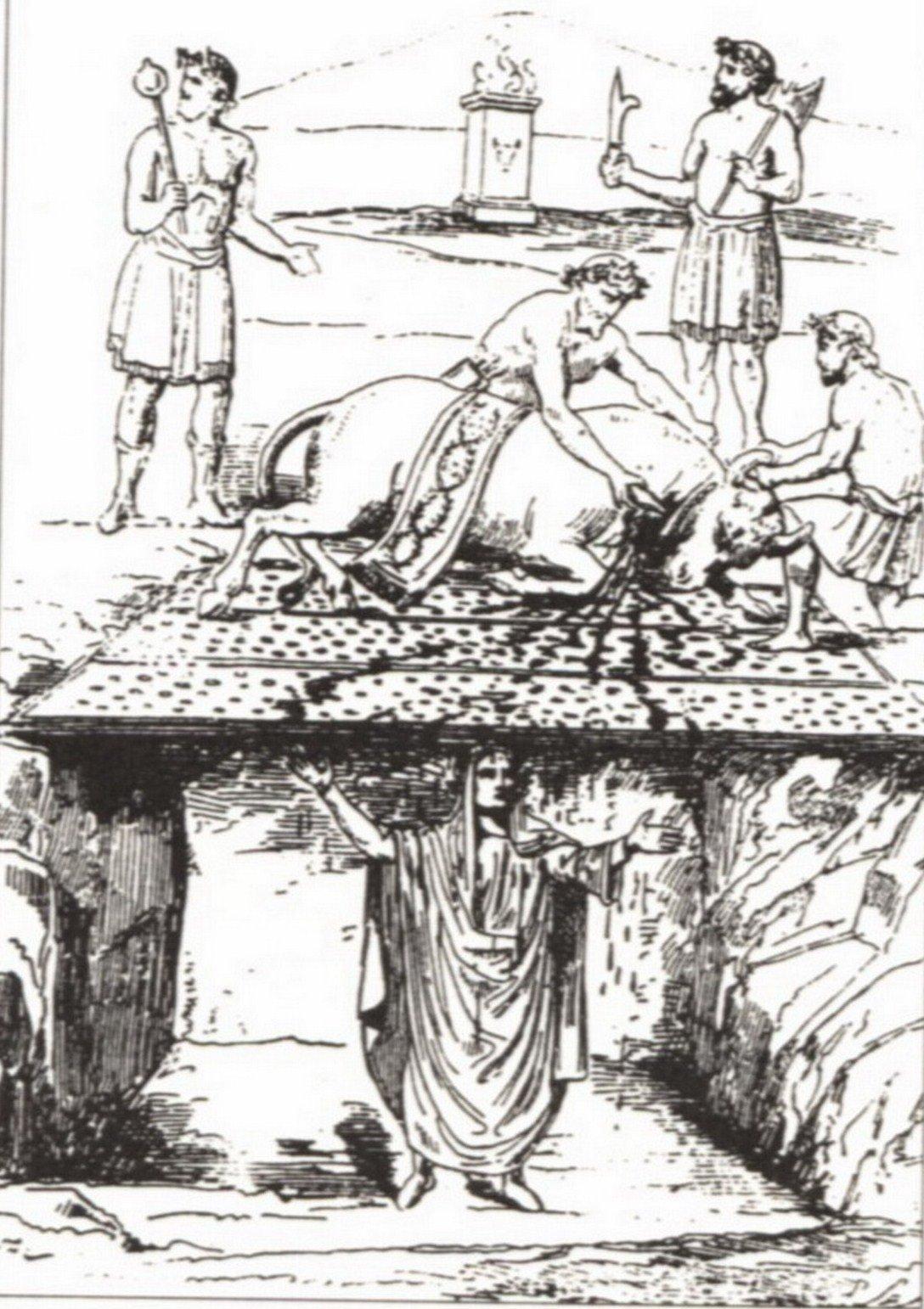 Recreación del rito del Taurobolio