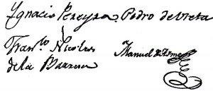 Firmas de los munícipes autores de la felonía