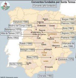 Conventos fundados por la Santa